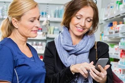 customer using her mobile phone