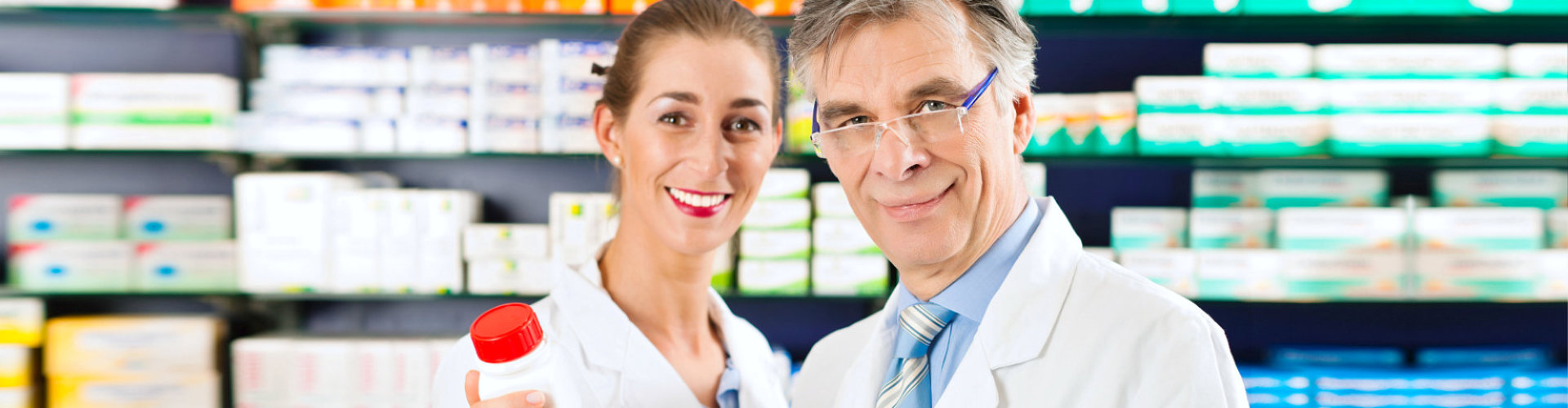 lady pharmacist with her partner smiling
