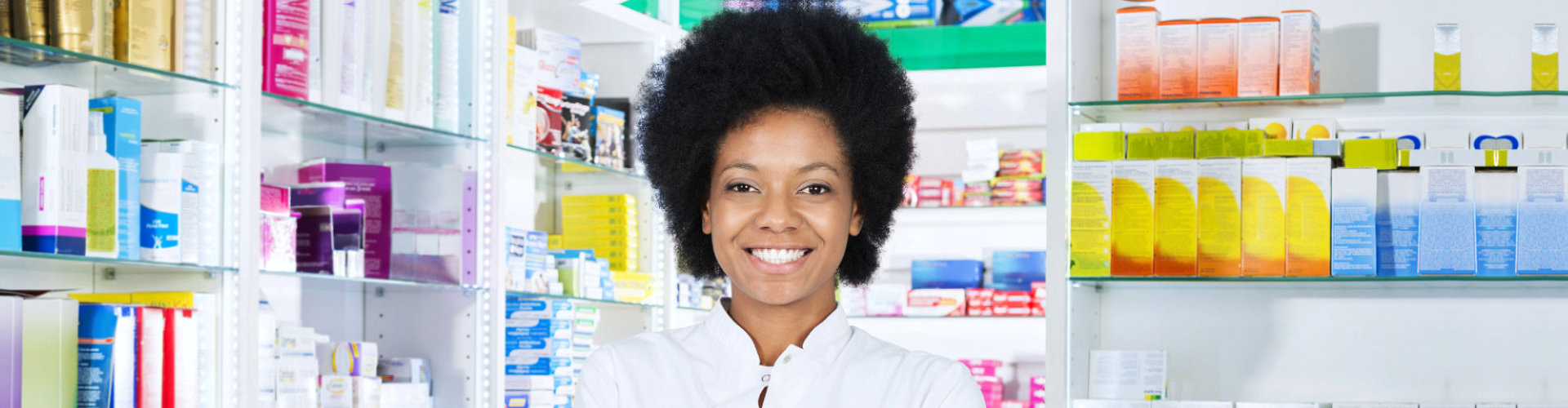 attractive female pharmacist smiling
